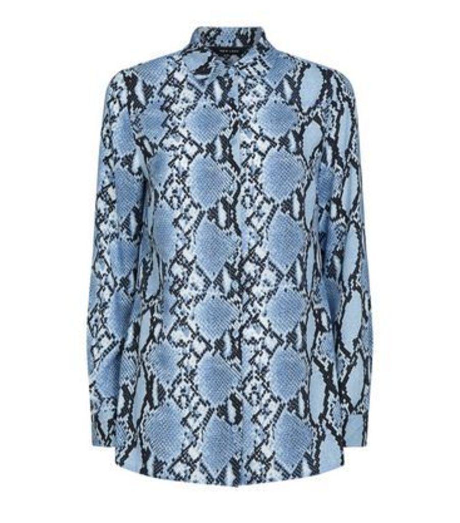 Blue Snake Print Chiffon Longline Shirt New Look
