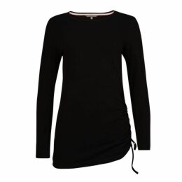 Black Crew Neck Side Ruched Top