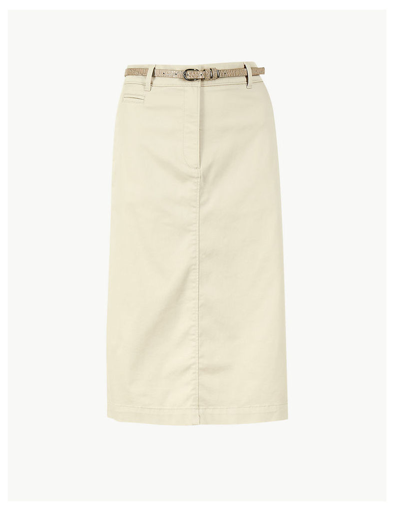 M&S Collection Cotton Rich Chino A-Line Skirt