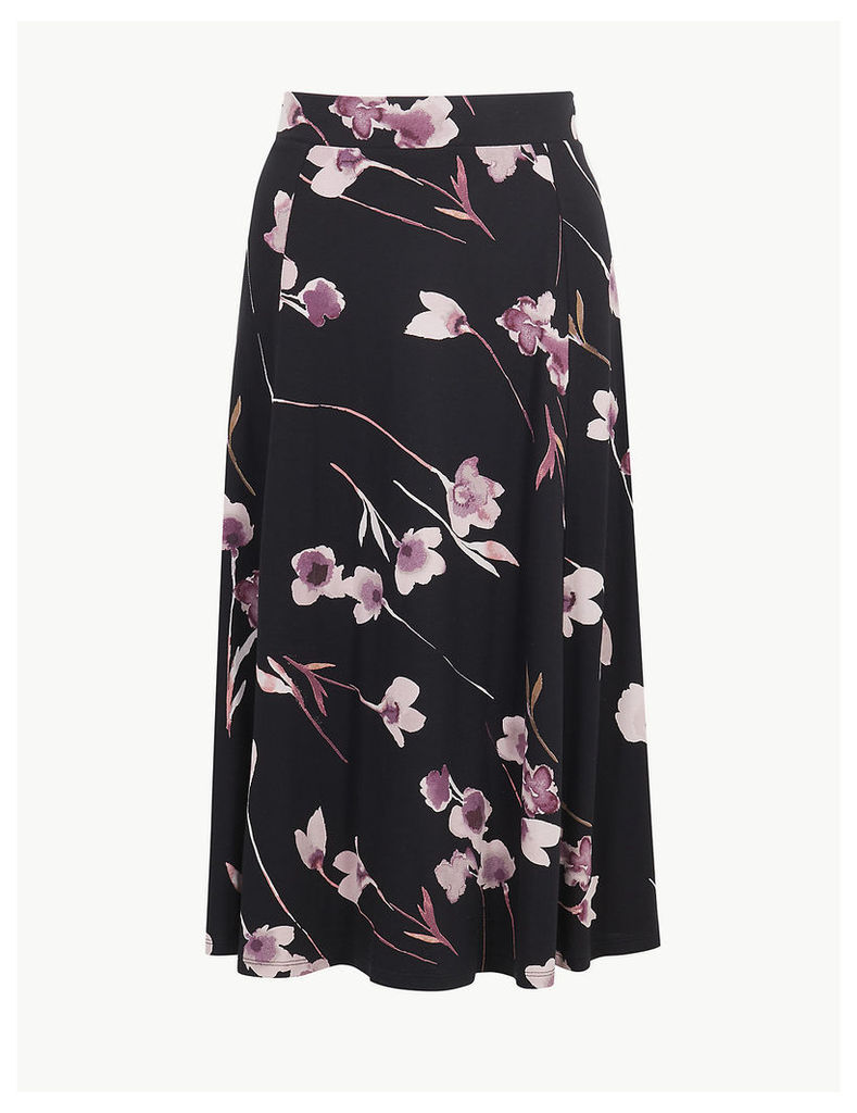 M&S Collection Floral Print Jersey A-Line Skirt