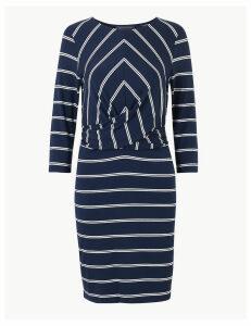 M&S Collection PETITE Striped 3/4 Sleeve Bodycon Mini Dress