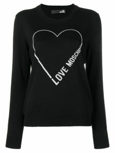 Love Moschino logo heart sweater - Black