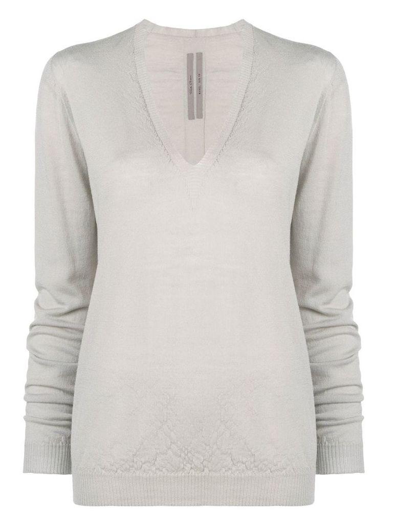 Rick Owens classic v-neck knit sweater - Grey