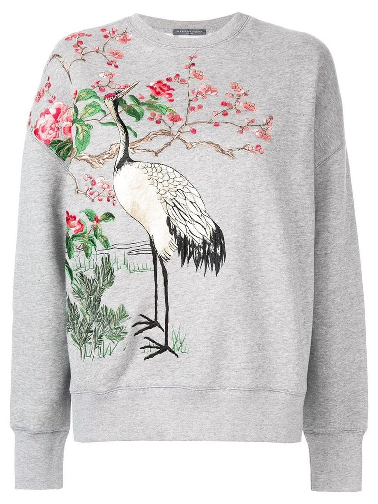 Alexander McQueen Japanese Embroidered sweater - Grey
