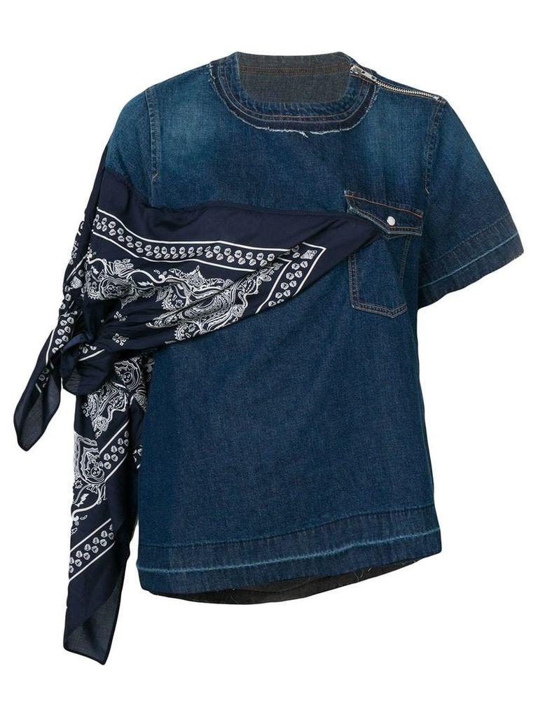 Sacai bandana tied denim top - Blue