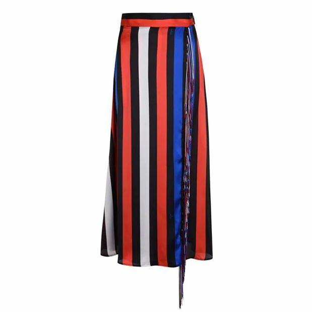 MSGM Stripe Fringe Skirt