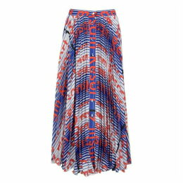 MSGM Pleated Stripe Logo Midi Skirt