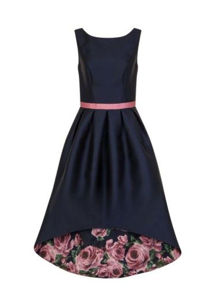 Womens *Chi Chi London Navy Floral Print Dip Hem Fit And Flare Dress- Navy, Navy