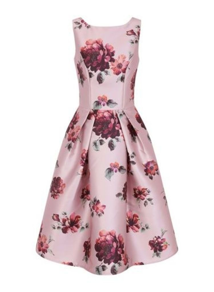 Womens *Chi Chi London Pink Floral Print Skater Dress- Pink, Pink