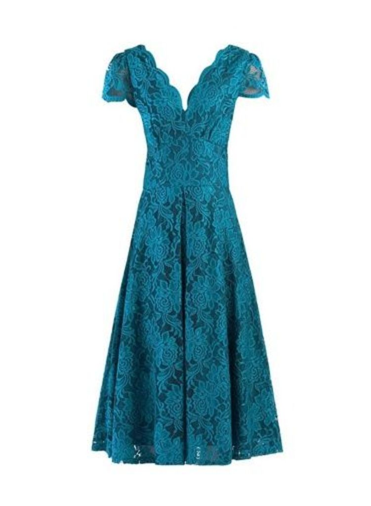 Womens **Jolie Moi Teal Scalloped Lace Dress- Teal, Teal
