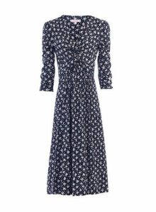 Womens *Jolie Moi Navy Leafy Print Midi Fit And Flare Dress- Black, Black