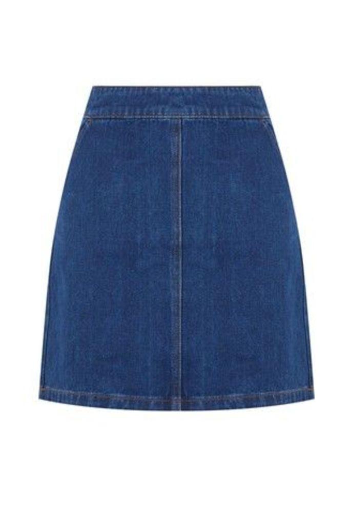 Womens Warehouse Blue Denim A-Line Skirt -  Blue
