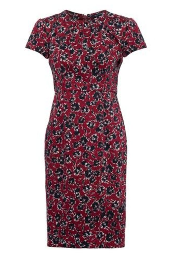 Womens French Connection Red Floral Fitted Dress -  Red