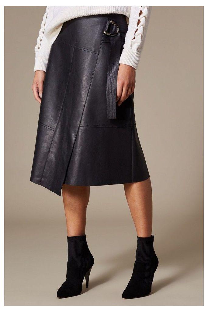 Womens Karen Millen Black Faux Leather Wrap Skirt -  Black