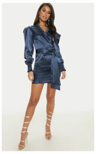 Blue Satin Frill Detail Ruched Bodycon Dress, Blue