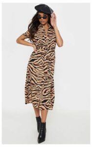 Camel Tiger Print Short Sleeve Midi Shirt Dress, Camel
