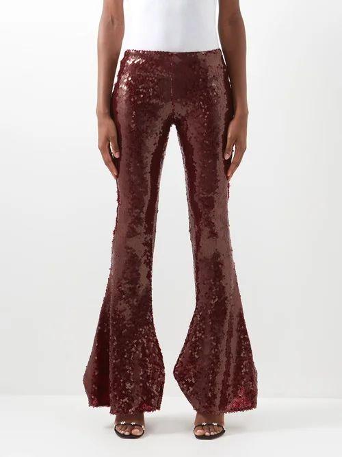Zazi Vintage - Suzani Embroidered Shearling Coat - Womens - Blue White