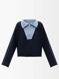 Zazi Vintage - Suzani Embroidered Shearling Coat - Womens - Blue White