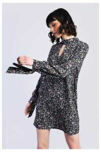 Womens Glamorous Floral Print Choker Dress -  Black