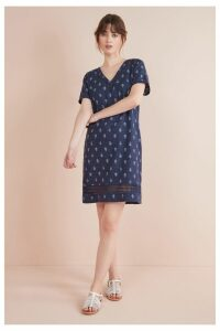 Womens Next Navy Geo Linen Blend T-Shirt Dress -  Blue