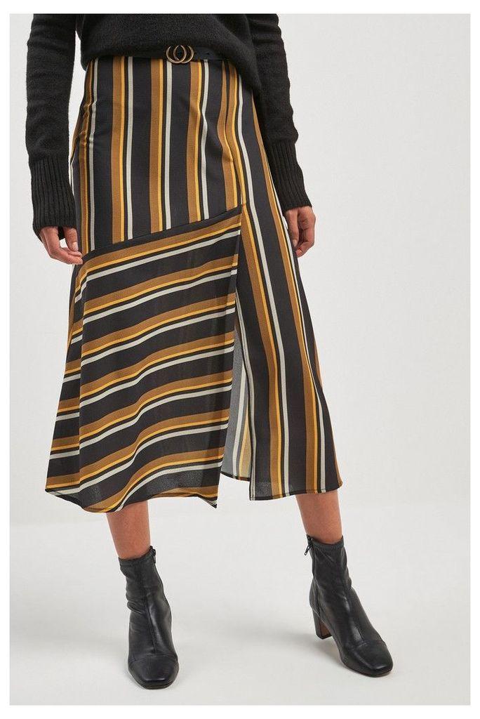 Womens Next Yellow/Navy Stripe Cut About Midi Skirt -  Blue