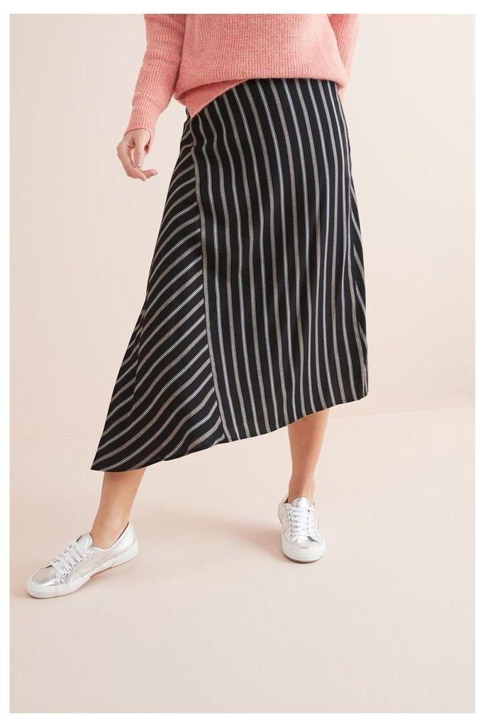 Womens Next Black Stripe Asymmetric Hem Skirt -  Black