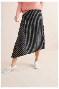 Womens Next Black Stripe Asymmetric Hem Skirt -  Black