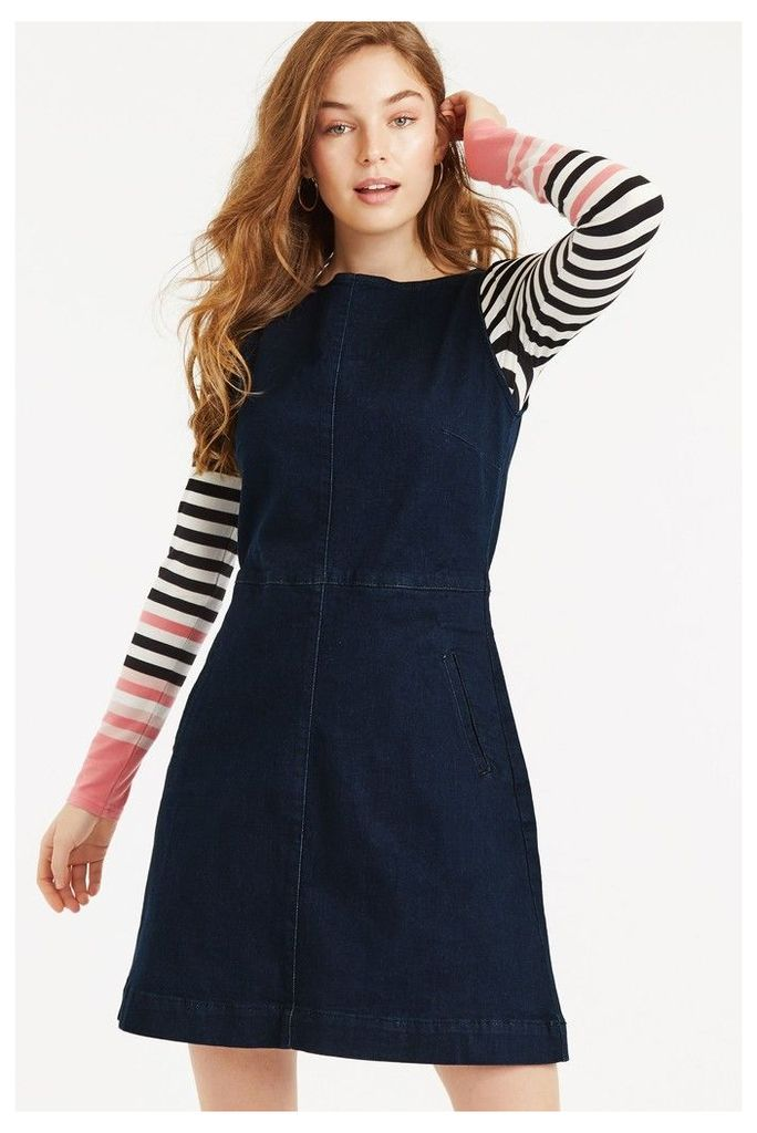 Womens Oasis Blue Denim Slash Neck Dress -  Blue