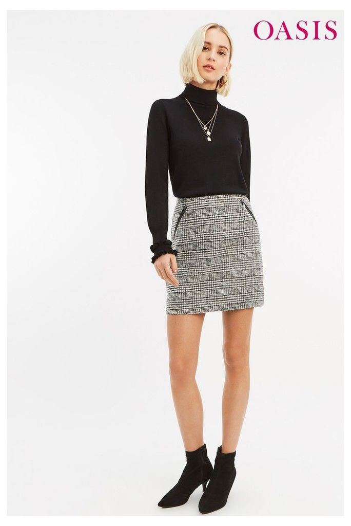 Womens Oasis Black/White Check Skirt -  Black