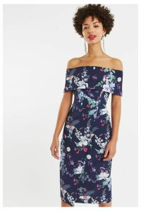 Womens Oasis Blue Bloom Bardot Pencil Dress -  Blue