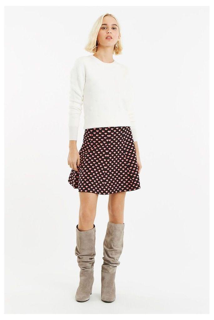 Womens Oasis Black Maggie Heart Knitted Skirt -  Black