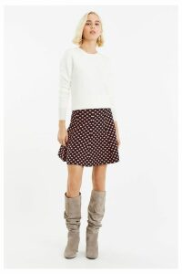 Womens Oasis Black Maggie Heart Knitted Skirt -  Black