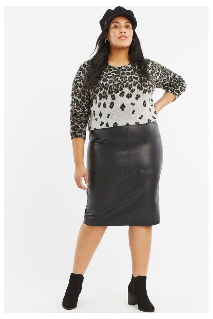Womens Oasis Black Curve PU Pencil Skirt -  Black