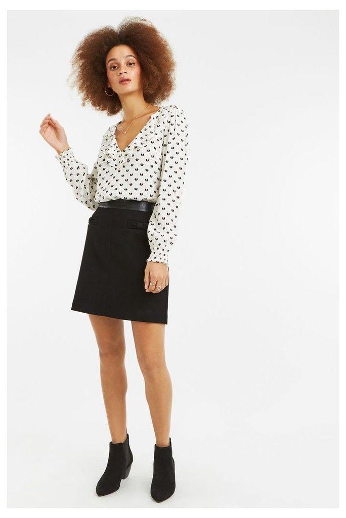 Womens Oasis Black Bow Skirt -  Black