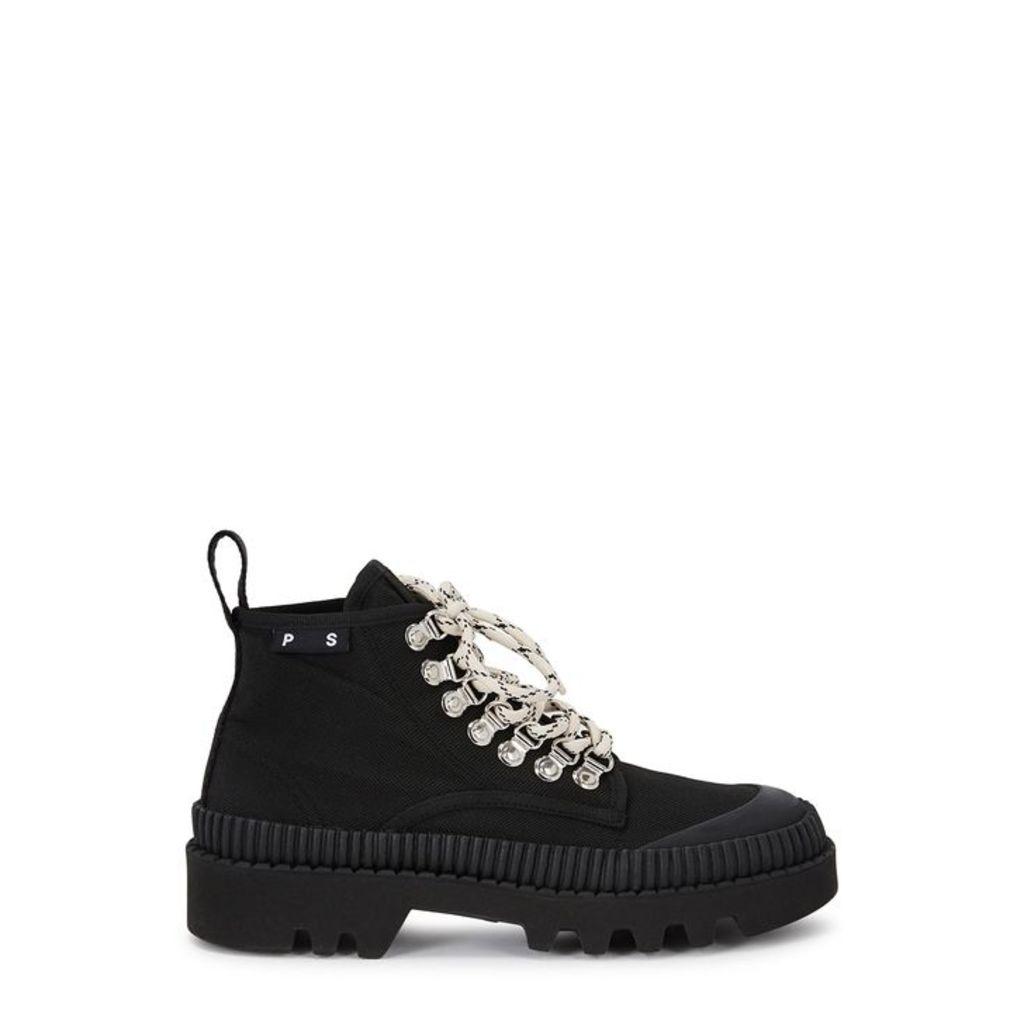 Proenza Schouler 50 Black Canvas Ankle Boots