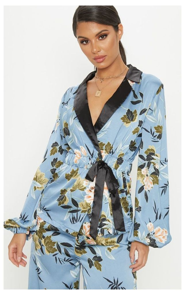 Blue Satin Floral Print Gathered Waist Collar Shirt, Blue