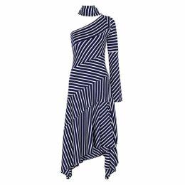 MONSE Striped One-shoulder Jersey Midi Dress