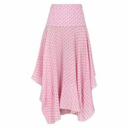 Stella McCartney Poppy Pink Monogrammed Silk Skirt