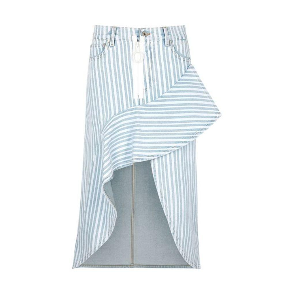 Off-White Light Blue Striped Denim Skirt