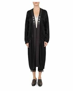 The Kooples Heart-Pin Tonal Stripe Kimono