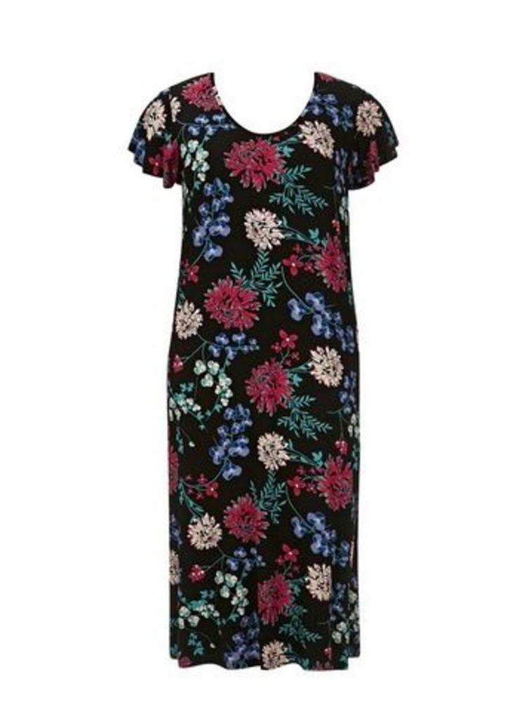 Black Floral Print Long Nightdress, Black Based