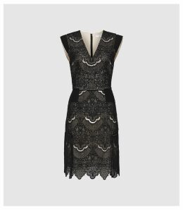 Reiss Gemina - Lace Fit And Flare Dress in Black, Womens, Size 16