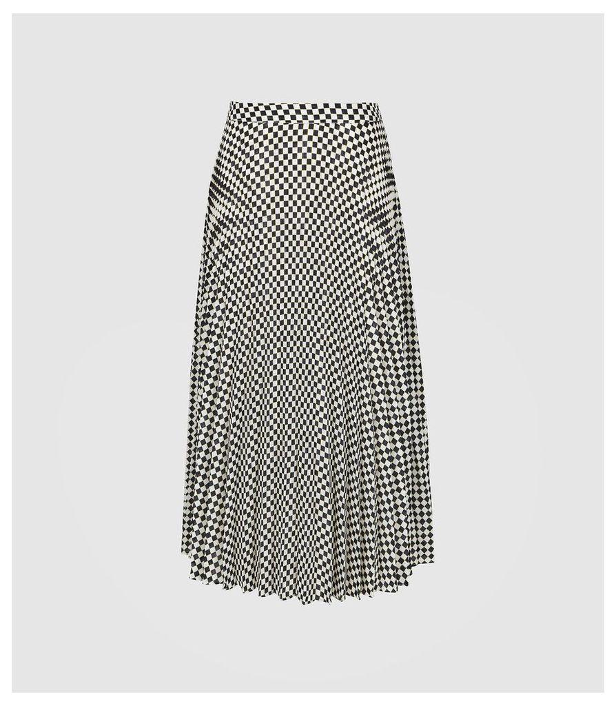 Reiss Abigail - Checked Pleated Midi Skirt in Black/white, Womens, Size 14