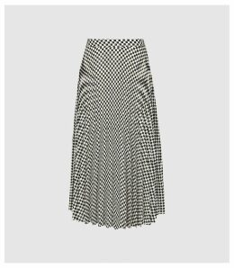Reiss Abigail - Checked Pleated Midi Skirt in Black/white, Womens, Size 14