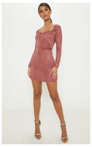 Rose Lace Velvet Insert Bodycon Dress, Pink