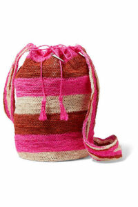 Muzungu Sisters - Rainbow Fique Striped Woven Straw Shoulder Bag - Red