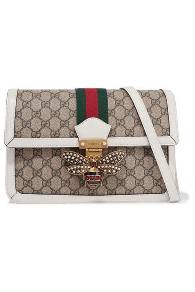 Gucci - Queen Margaret Medium Leather-trimmed Printed Coated-canvas Shoulder Bag - Beige
