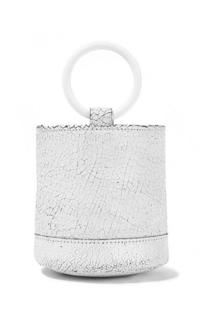 SIMON MILLER - Bonsai 15 Mini Cracked-leather Bucket Bag - White