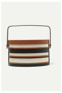 Hunting Season - Trunk Striped Leather And Raffia Tote - Black
