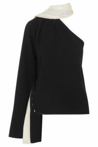 Peter Do - One-shoulder Draped Crepe And Twill Top - Black